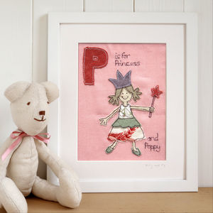 Personalised Girl's Alphabet Picture, Framed