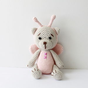 Hand Crochet Teddy In Butterfly Costume - soft toys & dolls