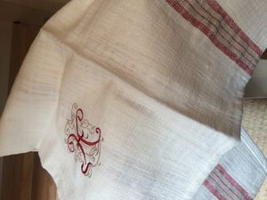 Red And White Linen 'H' Tea Towel