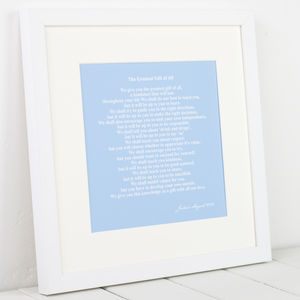 Personalised Mounted Christening Art Print - canvas prints & art for children
