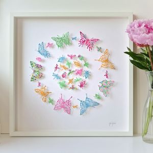 Handmade Butterflies And Bugs Framed Papercut
