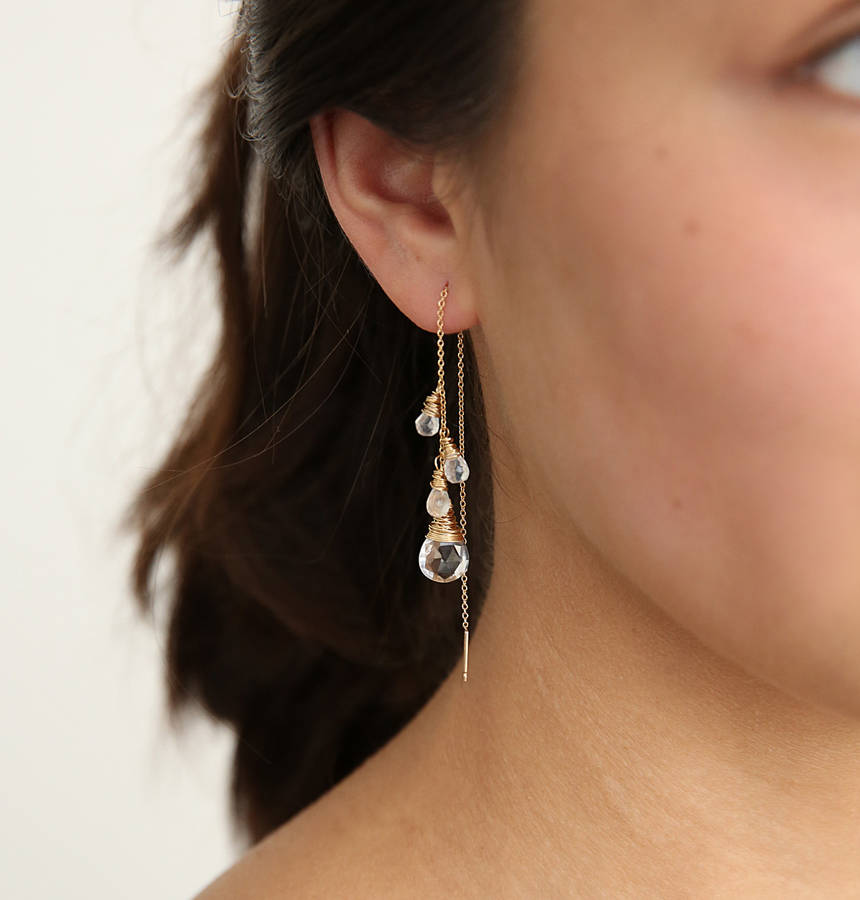 Crystal And Moonstone Ear Threads by Sarah Hickey