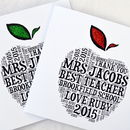 Teacher Sparkly Apple Personalised Card