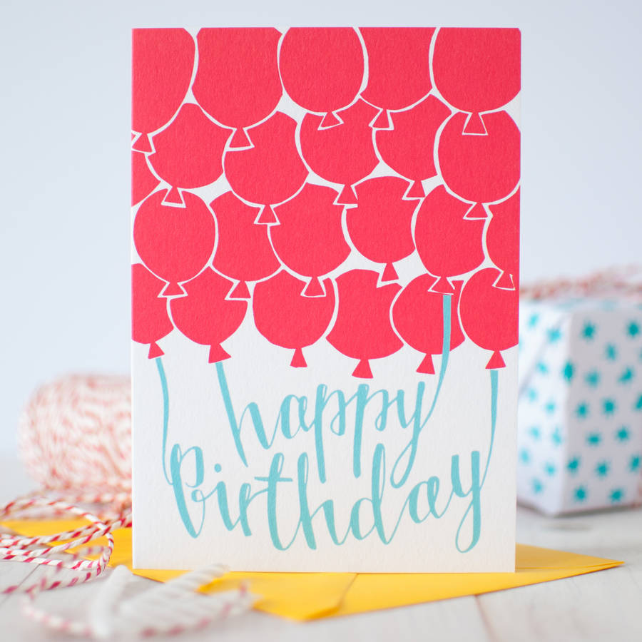 Red Balloons Happy Birthday Card
