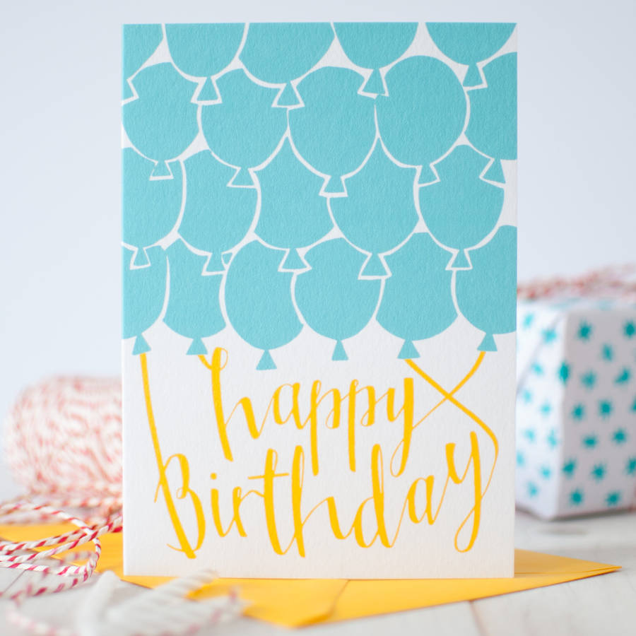 Blue Balloons Happy Birthday Card