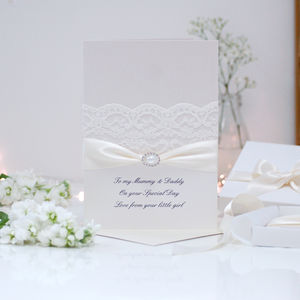 Large Pearl Personalised Wedding Card