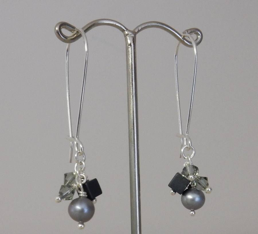 Silver And Pearl Cluster Drop Earrings By Anne Reeves