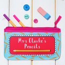 Personalised Pink Teacher Pencil Case