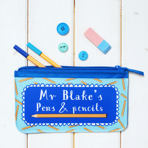Personalised Blue Teacher Pencil Case