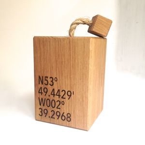 Personalised Oak Co Ordinates Doorstop - door stops