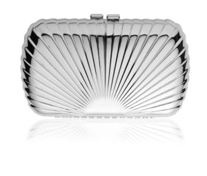 Rae Metallic Deco Fan Clutch Bag - evening bags