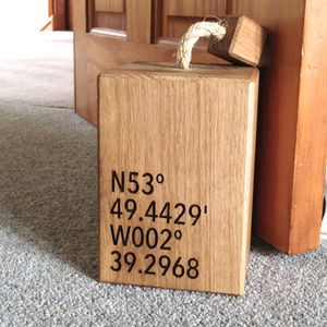 Personalised Oak Co Ordinates Doorstop - door stops & draught excluders