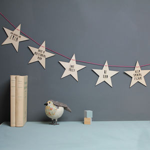 Personalised Wooden Baby Wishes Garland - bunting & garlands