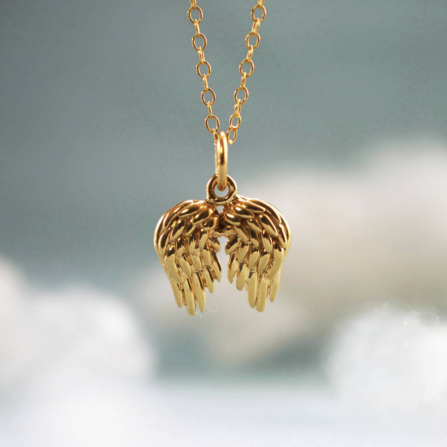 wings pendant necklace inicio silver angel brown