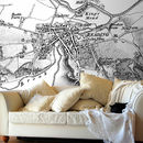 Personalised Vintage Map Wallpaper Black And White