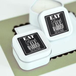 'Eat, Drink And Be Married' Personalised Candles - wedding favours