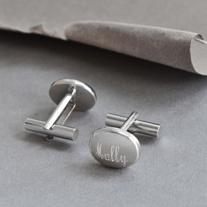 Sterling Silver Oval Cufflinks - men's accessories