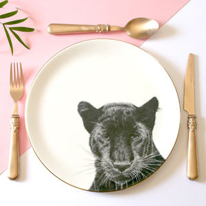 Peering Panther Illustrated Dinner Plate - crockery & chinaware
