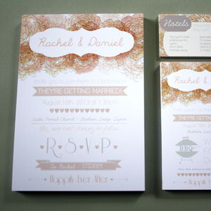 English Floral Vintage Style Wedding Invitation Bundle