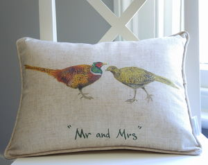 Personalised Mr And Mrs Pheasant Cushion - living room
