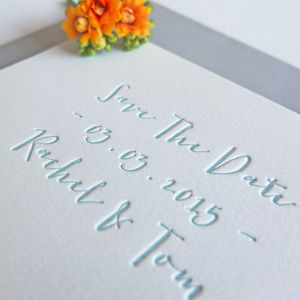 Calligraphy Letterpress Save The Date - invitations