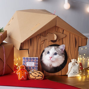 Cardboard Cabin Cat Playhouse - gifts for your pet