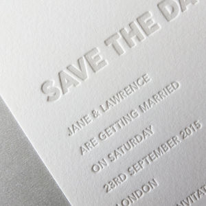 Embossed Letterpress Save The Date