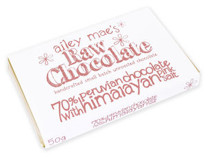 Raw Chocolate Bar Himalayan Pink Salt 50g - chocolates & confectionery