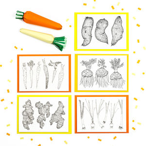 Set Of Five Illustrated Veg Recipe Notecards