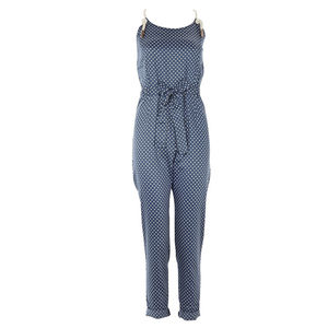 Blue Spotty Rope Detail Jumpsuit - trousers & leggings