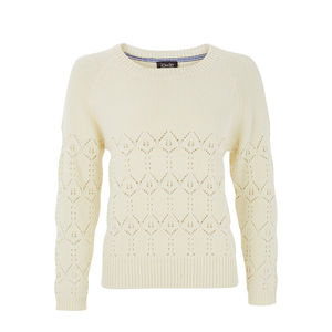 White Organic Cotton Lace And Moss Stitch Jumper