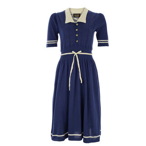Blue Wave Knit Tea Dress - dresses