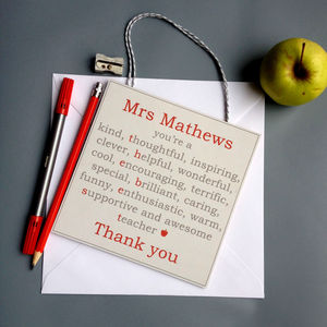 Wooden Personalised Teacher Gift