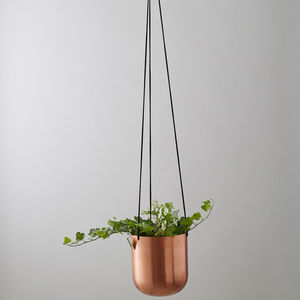 Copper Hanging Planter With Ivy
