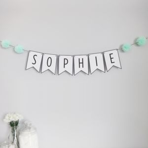 Personalised Name Bunting With Pom Poms - new baby gifts