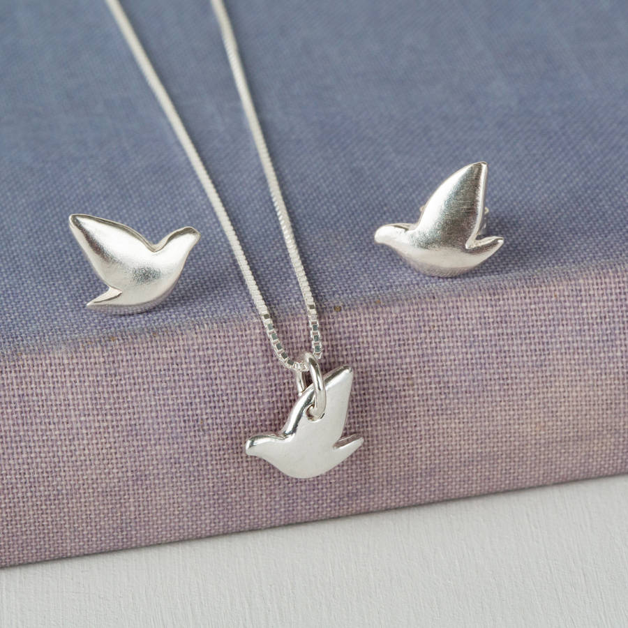 Sterling silver dove pendant and earrings set by jenny grace sterling silver dove pendant and earrings set mozeypictures Images
