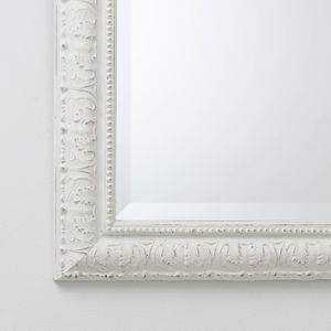 Hand Painted Beaded White And Cream Mirror - mirrors