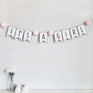 'It's A Girl' Bunting With Pom Poms - baby shower gifts & ideas