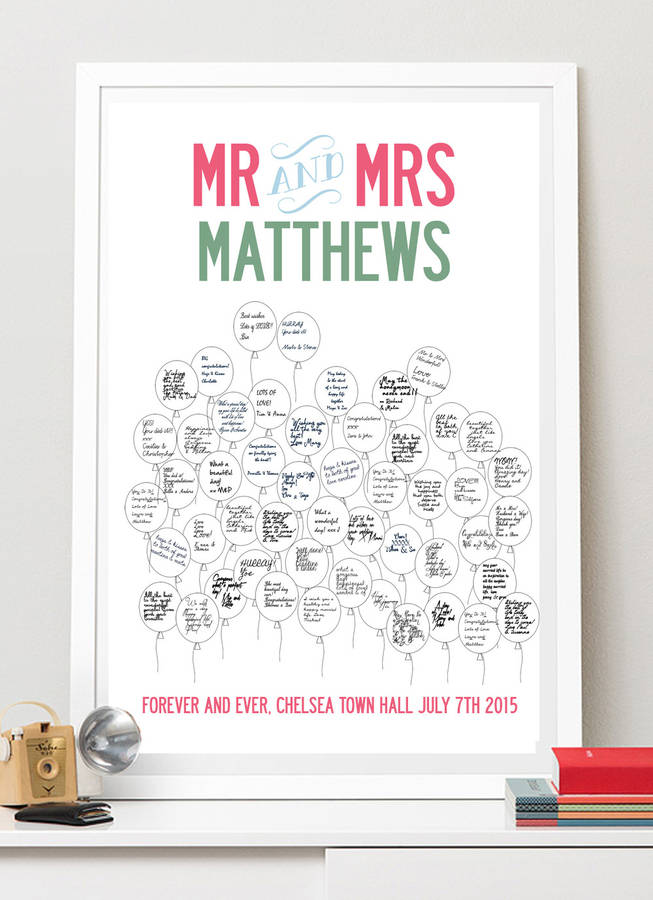 personalised wedding guest book poster by i love design