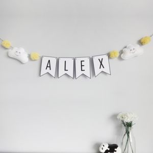 Personalised Cloud Name Bunting With Pom Poms - decorative accessories
