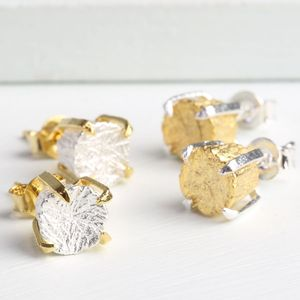 Mixed Metal Nugget Stud Earrings