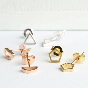 Mismatched Geometric Shape Stud Earrings - earrings