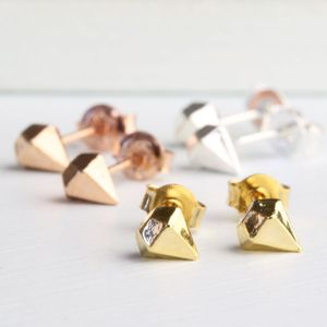 Geometric Gem Stud Earrings