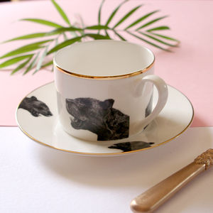 Panther Illustrated Tea Cup And Saucer
