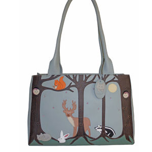 Cat And Forest Friends Leather Shoulder Bag 45% Off