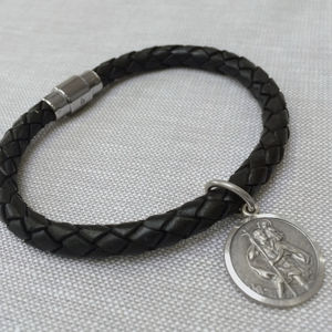 Personalised Silver St Christopher And Leather Bracelet - bracelets