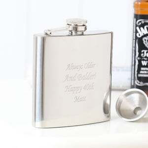 Engraved Stainless Steel Hip Flask And Funnel - outdoor living
