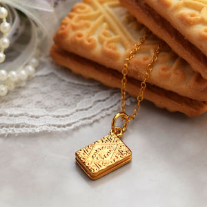 Custard Cream Necklace With Personalised Message - necklaces & pendants
