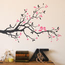 dark grey branch with pink birds