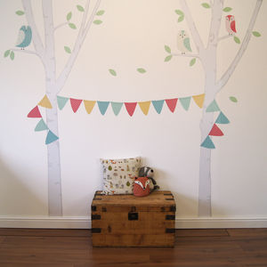 Birch Tree Bunting Wall Stickers - office & study